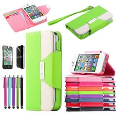 Colorful Wallet Card Hold Phone Flip Leather Case Cover For iPhone 4 4G 4S Stand