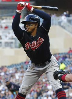 af4d4236d37 Cleveland Indians Francisco Lindor gets out of the way of the pitch by  Minnesota Twins Jose