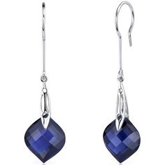 18 CT TGW Onion Cut Blue Lab-Created Sapphire Sterling Silver Dangle Earrings