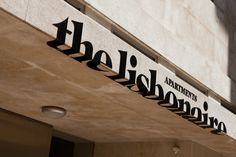 Art directed by experimentadesign (EXD), The Lisbonaire apartment-style hotel is in the heart of Lisbon, near the lively Chiado district. Shop Signage, Retail Signage, Wayfinding Signage, Signage Design, Typography Design, Banner Design, Café Exterior, Exterior Signage, Interior And Exterior
