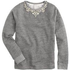 J.Crew Bib necklace sweatshirt (£54) ❤ liked on Polyvore featuring tops, hoodies, sweatshirts, sweaters, shirts, sweatshirt, loose fitting shirts, loose fit tops, cut loose tops and cut loose shirt