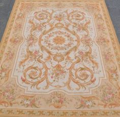 9'x12' Hand-woven Reproduction Rose Wool French Aubusson Flat Weave Area Rug~New