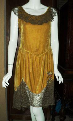 1920s Antique Silk Velvet Metallic Lace Dress Ribbonwork Original Great Condition Flapper via Etsy