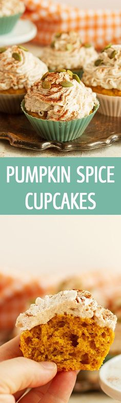 Easy Pumpkin Cupcakes with Cinnamon Frosting recipe made from scratch is perfect for Fall. Frosting for mine was butter, powdered sugar, cream cheese and pumpkin. Pumpkin Cupcakes, Pumpkin Dessert, Yummy Cupcakes, Spice Cupcakes, Cinnamon Cupcakes, Cinnamon Recipes, Pumpkin Recipes, Baking Recipes, Pumpkin Ideas