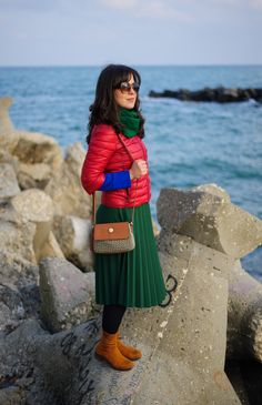 colour block: green pleated skirt, burgundy jacket, brown boots, crossbody bag, tommy hilfiger bag, green scarf
