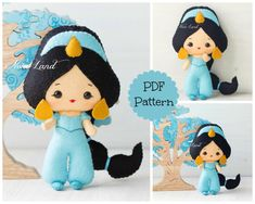 """This PDF sewing pattern is to make a doll 7"""" tall from felt fabrics. This doll is hand sewn.   THIS IS NOT A FINISHED DOLL. Pattern does not include"""