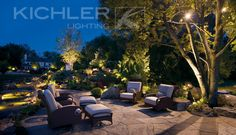 Discover Kichler's low voltage outdoor landscape lighting with hardscape lighting, path lighting, deck & patio lighting & spread landscape lights including LED. Outdoor Lighting Landscape, Patio Lighting, Outdoor Landscaping, Lighting Ideas, Lighting System, Landscaping Ideas, Outdoor Spaces, Outdoor Living, Outdoor Decor