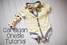 Easy Cardigan Onesie DIY Tutorial. Only 2 dollars to make. #cardigan #onesie #babystyle