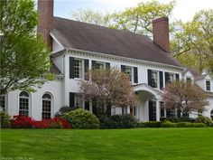 colonial portico and landscaping idea