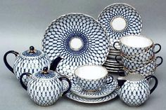 Lomonosov Porcelain Tea Set Cobalt Net 22 pc in Pottery & Glass, Pottery & China, China & Dinnerware Blue And White China, Blue China, China China, Vases, Vase Deco, Russian Tea, White Russian, Coffee Set, Polish Pottery