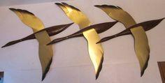 Vintage Mid Century Set of 3 Birds in Flight Wall Art Ducks Geese Metal   eBay