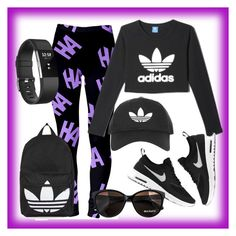 """Bez naslova #22"" by semiragoletic ❤ liked on Polyvore featuring adidas, NIKE, Topshop, Max&Co. and Fitbit"