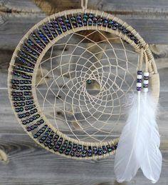 "10"" & 8"" Tan with Peach Web & Multi Color Beads Dreamcatcher"