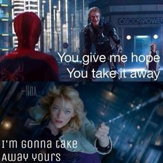 The Amazing Spider-Man 2 THIS MOVE IT WAS PERFECT except for this scene ): love emma stone and andrew garfield a lot! Perfect cast and awesome acting Spiderman 1, Amazing Spiderman, Marvel Dc Movies, Cry A River, Best Superhero, Andrew Garfield, Emma Stone, Super Heros, Celebrity Couples