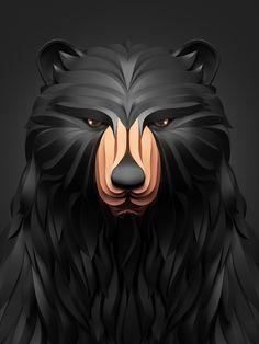 diseños 3D animales oso negro