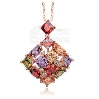 Barbara丨Colorful Zircon Crystal 18k Rose Gold Pendant Necklace Women Jewelry
