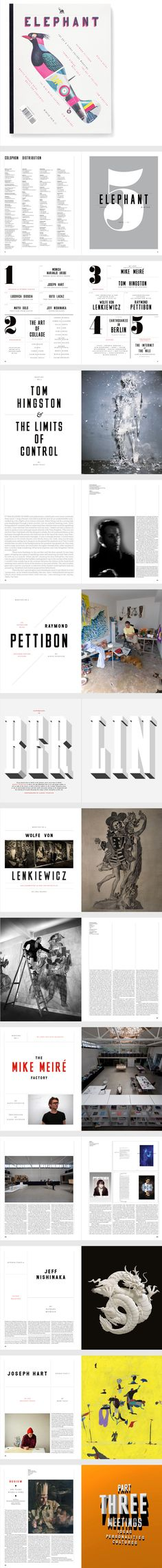 for top 5 list... i like the number and the type face  Elephant Magazine, Issue 5 by Matt Willey editorial design