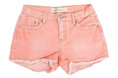 Coral Cut off Mini Shorts