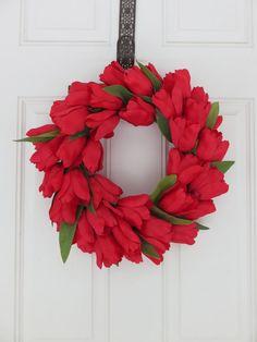Tulip Wreath for Front Door Spring Wreath by MaineMadeWreaths