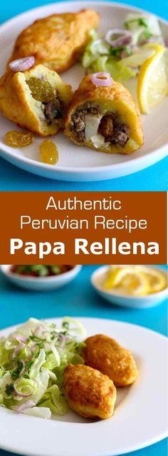 Papa rellena is a small bite of mashed potato stuffed with meat, tomato, black olives, raisins and flavored with oregano and cumin, then fried. Peruvian Dishes, Peruvian Cuisine, Peruvian Recipes, Mexican Food Recipes, Beef Recipes, Cooking Recipes, Healthy Recipes, Ethnic Recipes, Empanadas