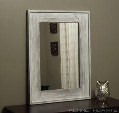 Distressed White Framed Mirror