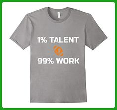 Mens Football Shirt 1% Talent, 99% Work Funny Gift Medium Slate - Sports shirts (*Amazon Partner-Link)