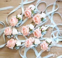 Pink Rose Wrist Corsage Blue ribbon wrist corsage Bridesmaid