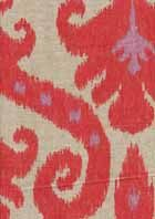 Marrakesh Firefly Ikat Drapery Fabric    Item#: SW23985      This is a beautifulnatural, lavendar and melon ikat drapery fabric. Ideal as decorative pillows, drapery fabric, curtain fabric, bedding fabric. Fabric suitable for many home decorating applications. Dry cleaning recommended. Compared at $36.95. Width: 54 in. Cotton/poly blend V.Repeat:26 in. V249 ENF  $22.95 per yard    http://www.fashionfabricsonline.com/catalog_itemdetail.aspx?ItmID=SW23985