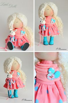 Curly doll Fabric doll Tilda doll coral от AnnKirillartPlace                                                                                                                                                     More