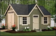 """The New England Deluxe Series brings a """"touch of class"""" to the common backyard shed. These buildings are enhanced with a special trim package and a stately door design with transom windows. This new series adds the finishing touch you want and will blend nicely into your backyard landscape."""