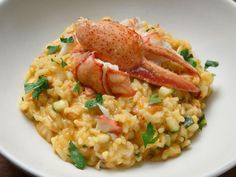 Lobster Risotto with Saffron, Cherry Tomatoes and Zucchini Recipe | Anne Burrell | Food Network Pickled Hot Peppers, Worst Cooks In America, Lobster Risotto, Food Network Recipes, Cooking Recipes, Tomato Risotto, Risotto Recipes, Beef Steak