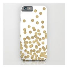 Gold Glitter Dots In Scattered Pattern iPhone 6s Case ($35) ❤ liked on Polyvore featuring accessories, tech accessories and iphone & ipod cases