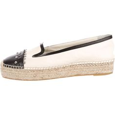 Pre-owned Alexander McQueen Leather Studded Espadrilles ($225) ❤ liked on Polyvore featuring shoes, sandals, black, black leather shoes, studded sandals, leather sandals, leather espadrilles and black espadrilles