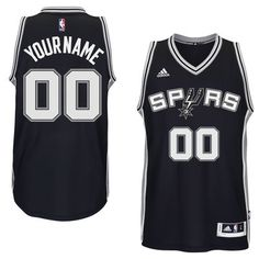 ac0a9f79ff1 Mens San Antonio Spurs adidas Black Custom Swingman Road Jersey Baskets