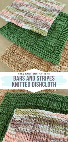 Bars and Stripes Knitted Dishcloth Free Pattern This pattern was designed to suit the needs of all the lovely knitters who are at the very beginning of their journey. Even if you have no experience in the matter, you will surely master it in no time. Knitted Dishcloth Patterns Free, Beginner Knitting Patterns, Knitted Washcloths, Knitting Stitches, Free Knitting, Crochet Pattern, Simple Knitting Projects, Sock Knitting, Knitting Tutorials