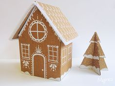 Make a gingerbread house out of cardboard Diy Christmas Garland, Christmas Mood, Merry Little Christmas, Christmas Decorations, Diy Girlande, Cardboard Box Crafts, Christmas Gingerbread, Diy Weihnachten, Holiday Crafts