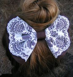 Hair Bow - Chocolate Brown and Ivory Lace, fabric barrette for teens and women,french barrette, Retro style Animal Print bow