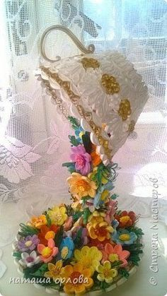 *QUILLING ~ Handmade article Quilling Simulation design cup of flower tea Paper strips photo 2 Neli Quilling, Quilling Paper Craft, Quilled Paper Art, Diy Paper, Paper Crafts, Quilling Patterns, Quilling Designs, Quilling Ideas, Diy Arts And Crafts