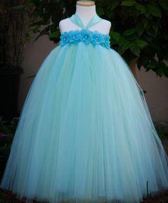 Aqua Mint Flower GIrls Tutu Dress