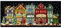 Main Street Holiday cross stitch pattern.