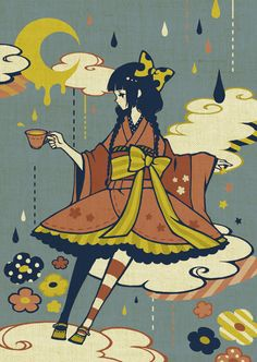 Wa-lolita illustration with melty moon.