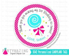 New from Partymazing on Etsy: Candyland Printable Thank You Labels Baby Bird Thank You Stickers Party Favor Tags  Candyland Birthday Collection  D342 (8.00 USD) For more @partymazing