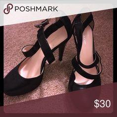 Beautiful Calvin Klein black closed toe heels Beautiful black Calvin Klein closed toe strappy heels! Only worn once. Calvin Klein Shoes Heels