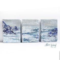 Купить Триптих «Море» - картина маслом на холсте морской пейзаж - морская волна, белый, голубой