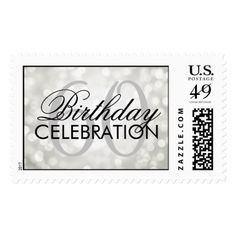 Elegant 60th Birthday Party Silver Glitter Lights Postage