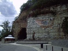 The Piasa Caves - Alton, Illinois  Native american petroglyph of a dragon-type flying creature that dwelled in the caves long before the first Europeans noticed the painting during early exploration of the Mississippi River.