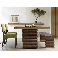 Paloma Dining Table in Dining Tables | Crate and Barrel. Love the table, bench and chairs....but i would totally warm up this place.... it's too cold for my liking.