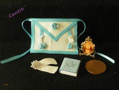 1:12 Scale Hand-Made Miniature GENTLEMENS MASONIC SET APRON/GLOVES/BOOK/PHOTO