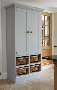 Kitchen Larder made from Solid Oak. Kitchen Furniture Handcrafted by The Bespoke Furniture Company Pantry Cabinet Free Standing, Free Standing Kitchen Cabinets, Tall Kitchen Cabinets, Kitchen Larder, Wood Storage Cabinets, Kitchen Cabinet Storage, Kitchen Units, Ikea Kitchen, Pantry Cupboard