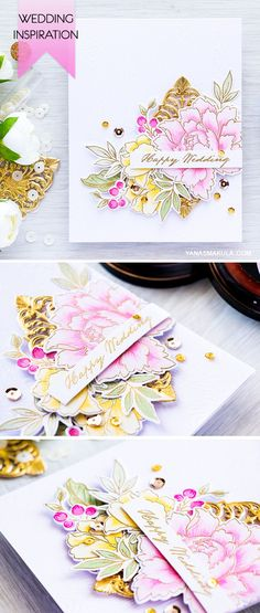 Create a Wedding Card using Altenew Peony Bouquet stamp and die set.  For details, visit http://www.yanasmakula.com/?p=54142